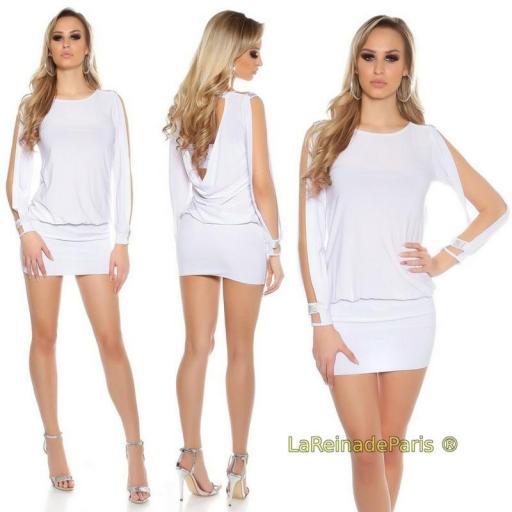 vestido blanco pegadito atractivo look