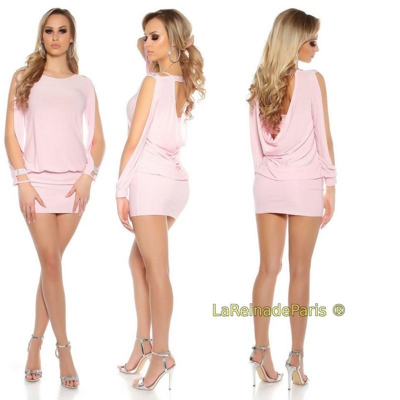 vestido corto para fiesta rosa ajustado