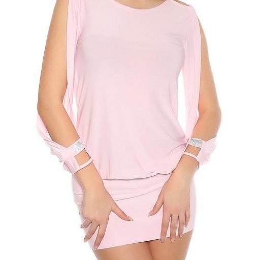 vestido corto para fiesta rosa ajustado [2]