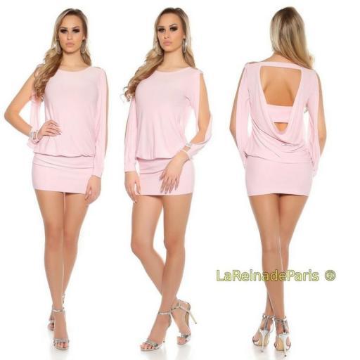 vestido corto para fiesta rosa ajustado [3]