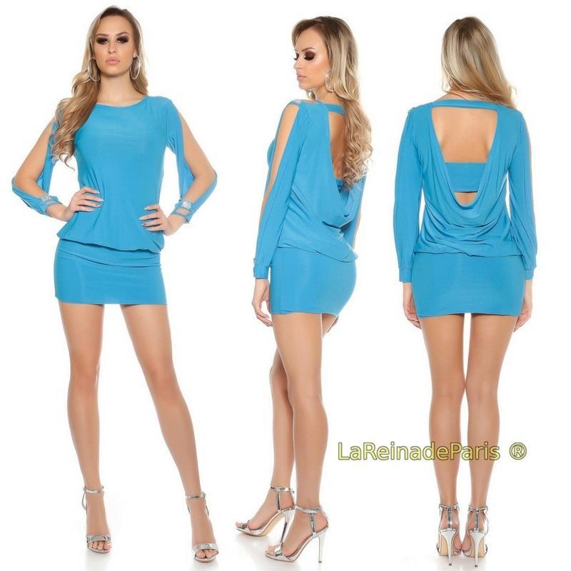 Vestido azul turquesa entallado