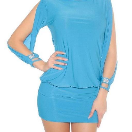 Vestido azul turquesa entallado [1]