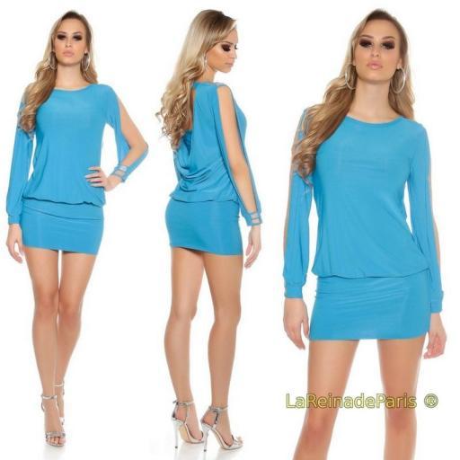 Vestido azul turquesa entallado [3]