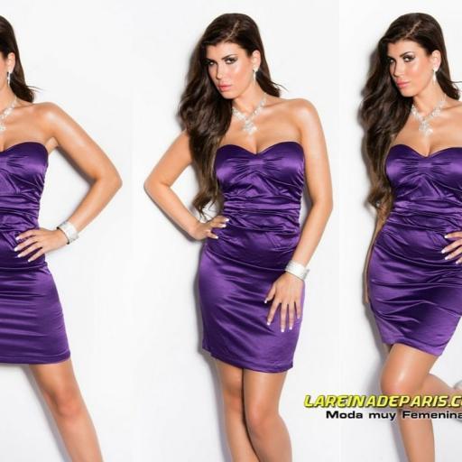 Vestido entallado de cóctel purpura  [3]