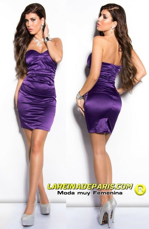 Vestido entallado de cóctel purpura