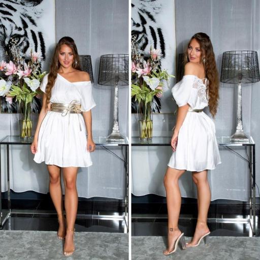Vestido corto de satén y encaje blanco [1]