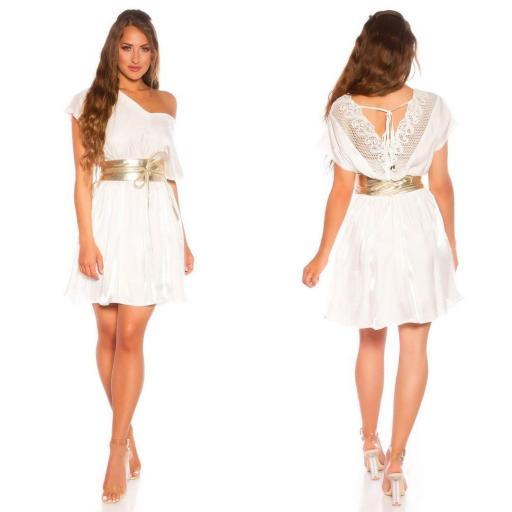 Vestido corto de satén y encaje blanco [2]