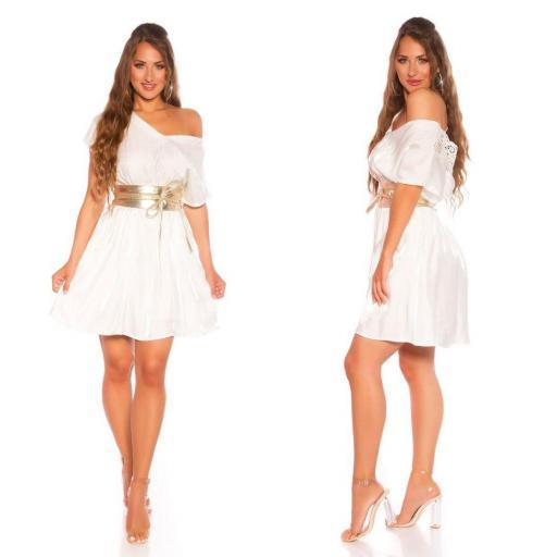 Vestido corto de satén y encaje blanco [3]