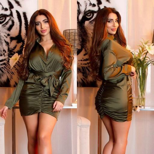 Vestido satinado sexy arrunchado khaki