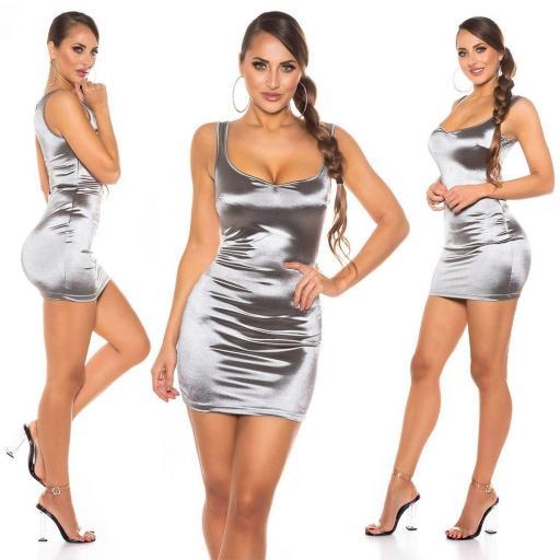 Vestido satinado corto plata