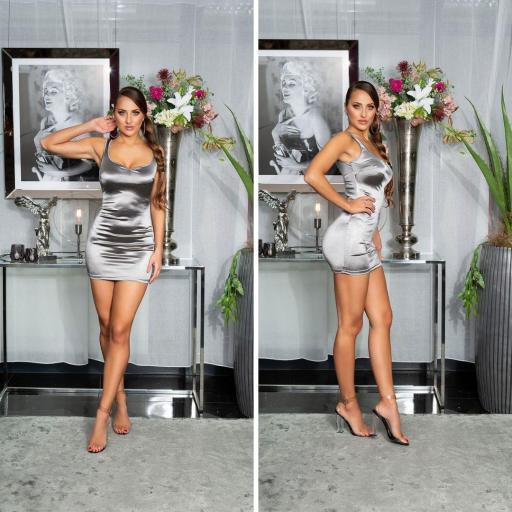 Vestido satinado corto plata [2]