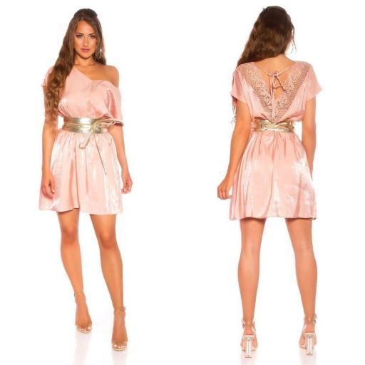 Vestido corto de satén y encaje rosa [2]