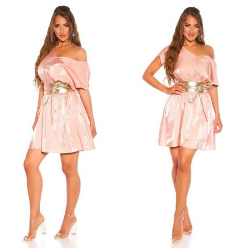 Vestido corto de satén y encaje rosa [3]