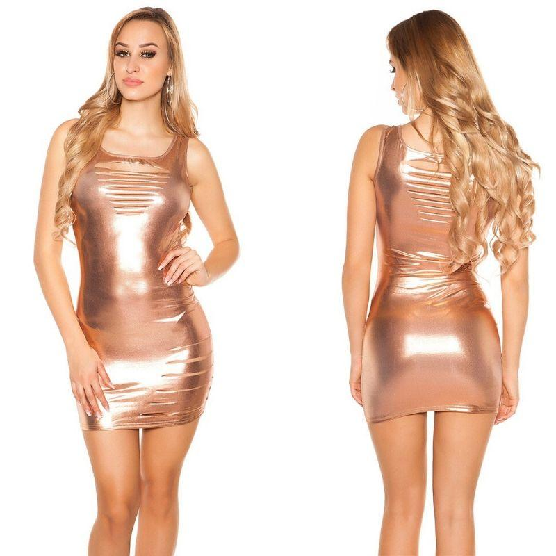 Vestido bronce metalizado oferta