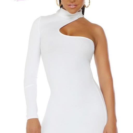 Vestido corto voluptuoso blanco [1]