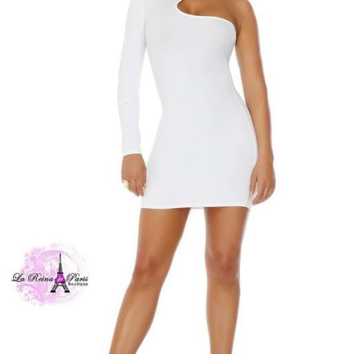Vestido corto voluptuoso blanco [3]