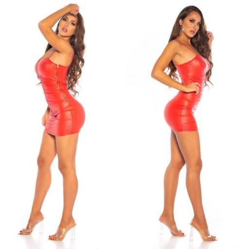 Vestido cuero fruncido rojo  [2]