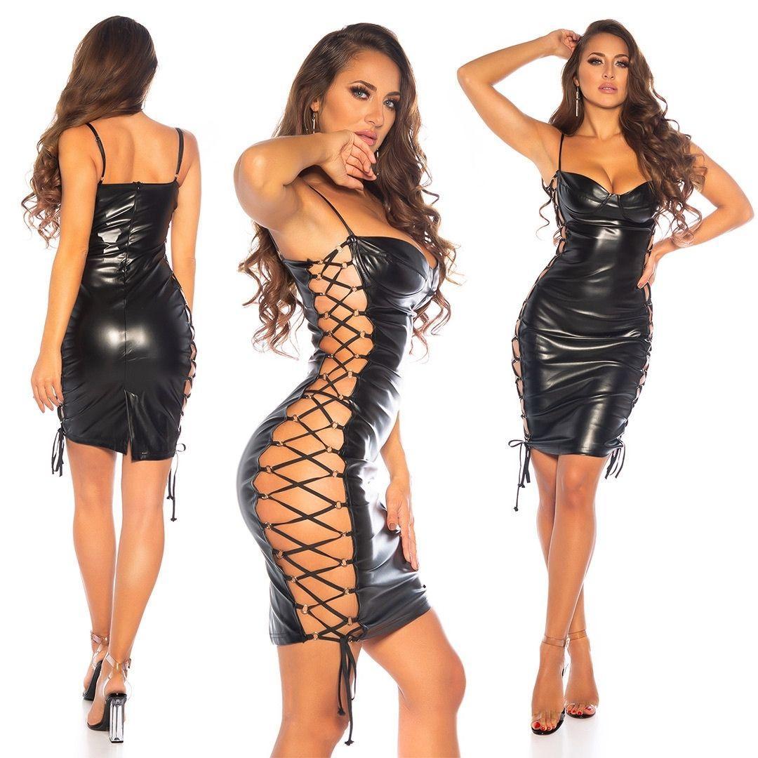 Vestido cordones laterales sexy negro