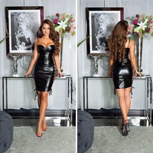 Vestido cordones laterales sexy negro [1]