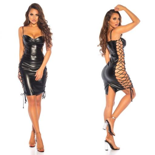 Vestido cordones laterales sexy negro [2]