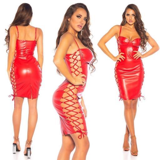 Vestido cordones laterales sexy rojo