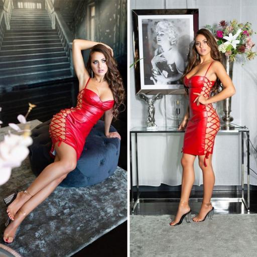 Vestido cordones laterales sexy rojo  [2]