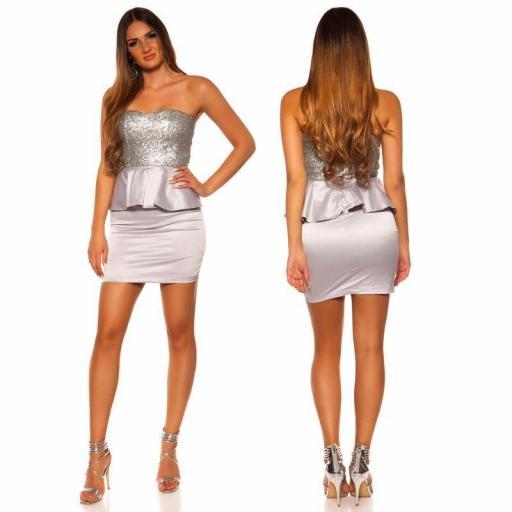 Vestido de cóctel brillante plata [1]
