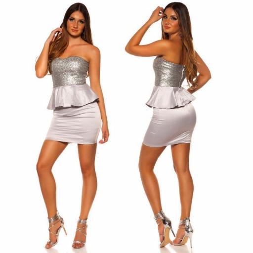Vestido de cóctel brillante plata [2]
