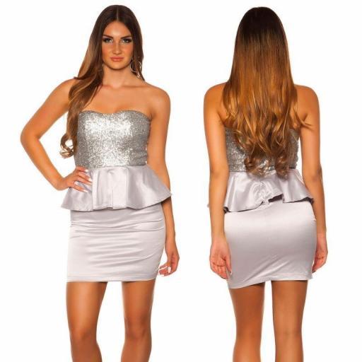 Vestido de cóctel brillante plata [3]