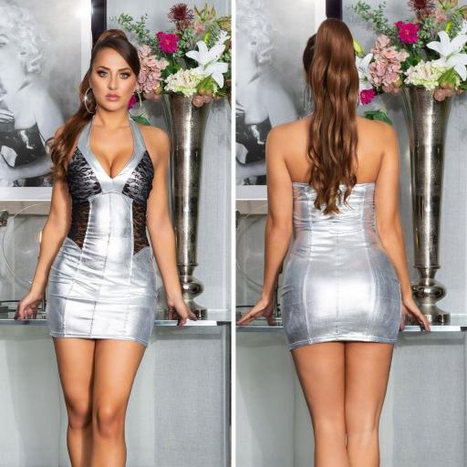 Vestido gris metalizado con encaje