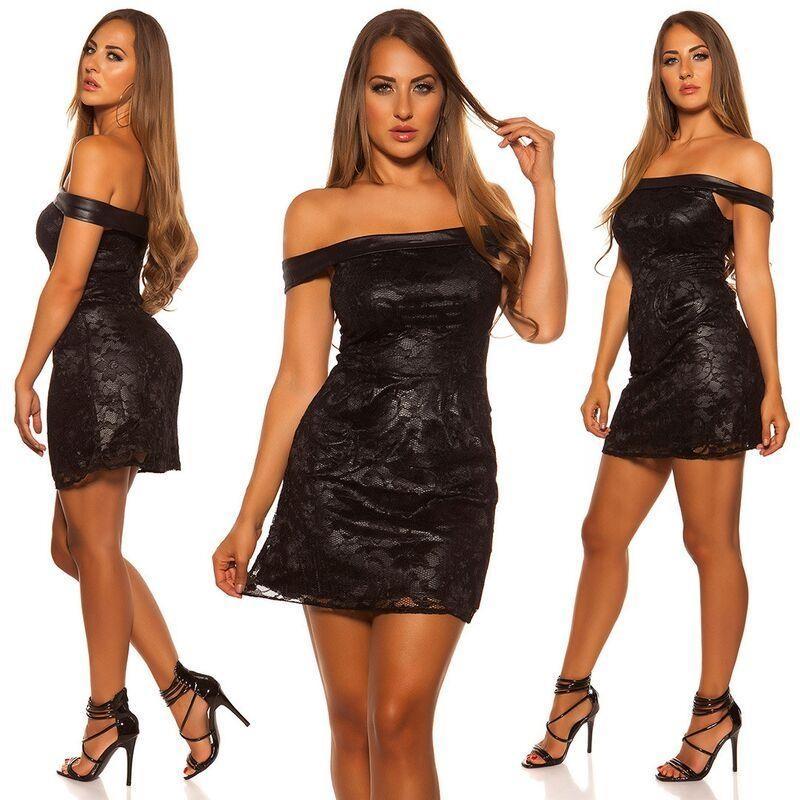 Vestido de encaje elegante negro