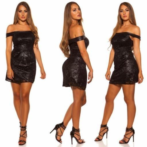 Vestido de encaje elegante negro [2]