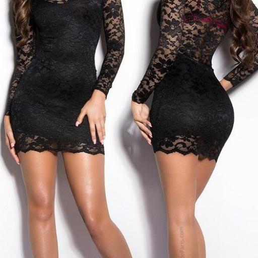 Vestido corto de tentador encaje negro [2]