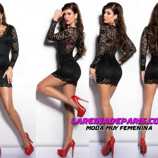 Vestido corto de tentador encaje negro [3]