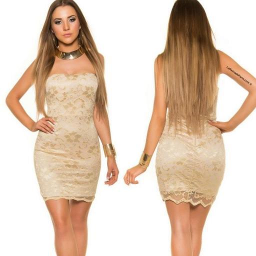 Mini vestido de encaje Oro elegancia vip