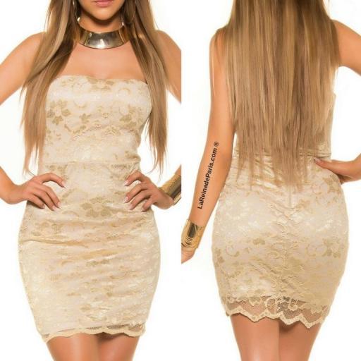 Mini vestido de encaje Oro elegancia vip [3]