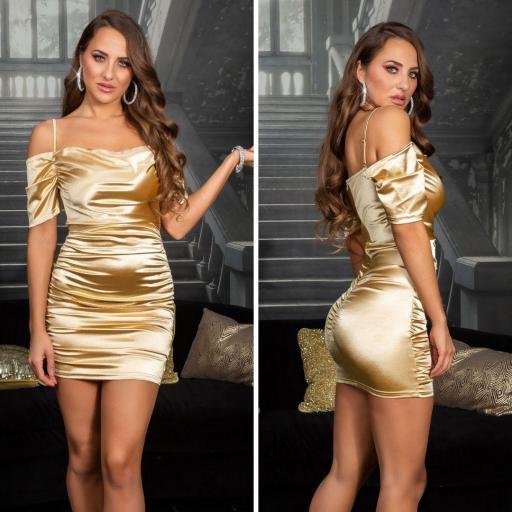 Vestido corto de fiesta satinado oro