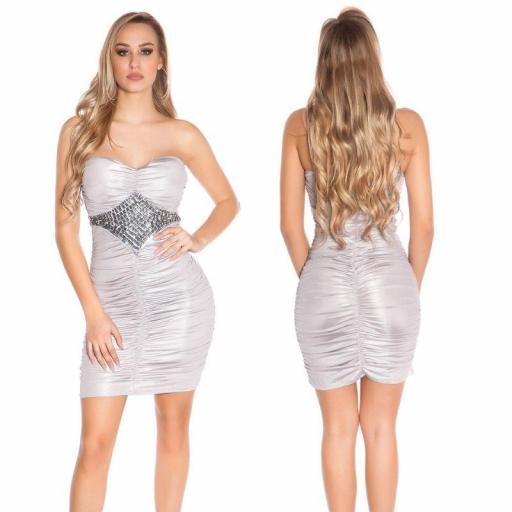 Vestido con pedrería gris