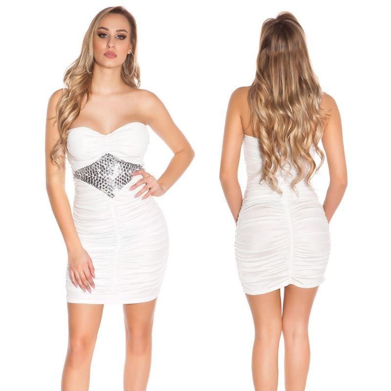 Vestido con pedrería blanco