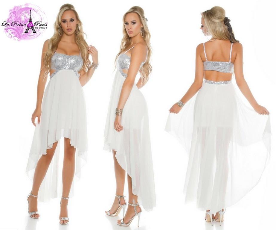 Vestido de fiesta blanco con lentejuelas