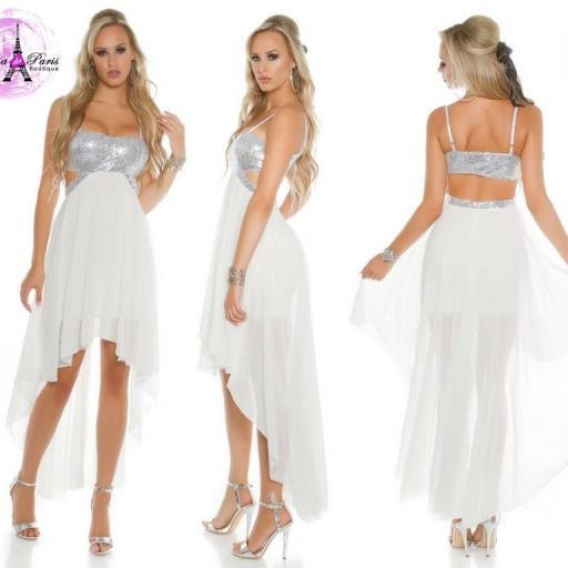 Vestido de fiesta blanco con lentejuelas [0]