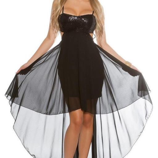 Atractivo vestido de fiesta negro brillante  [1]