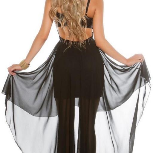 Atractivo vestido de fiesta negro brillante  [2]