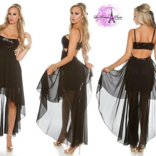 Atractivo vestido de fiesta negro brillante