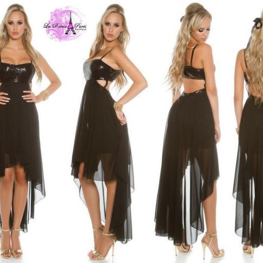 Atractivo vestido de fiesta negro brillante  [3]