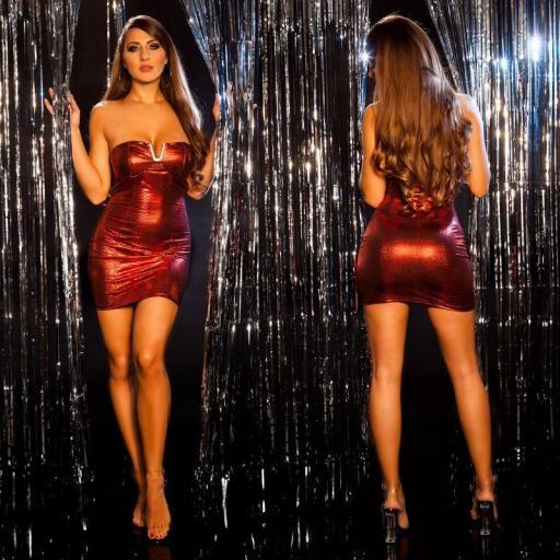 Vestido brillante de fiesta rojo [0]