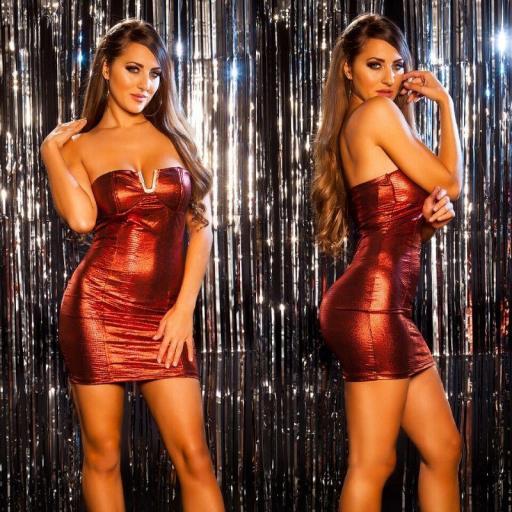 Vestido brillante de fiesta rojo [3]