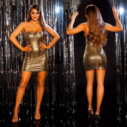 Vestido brillante de fiesta oro