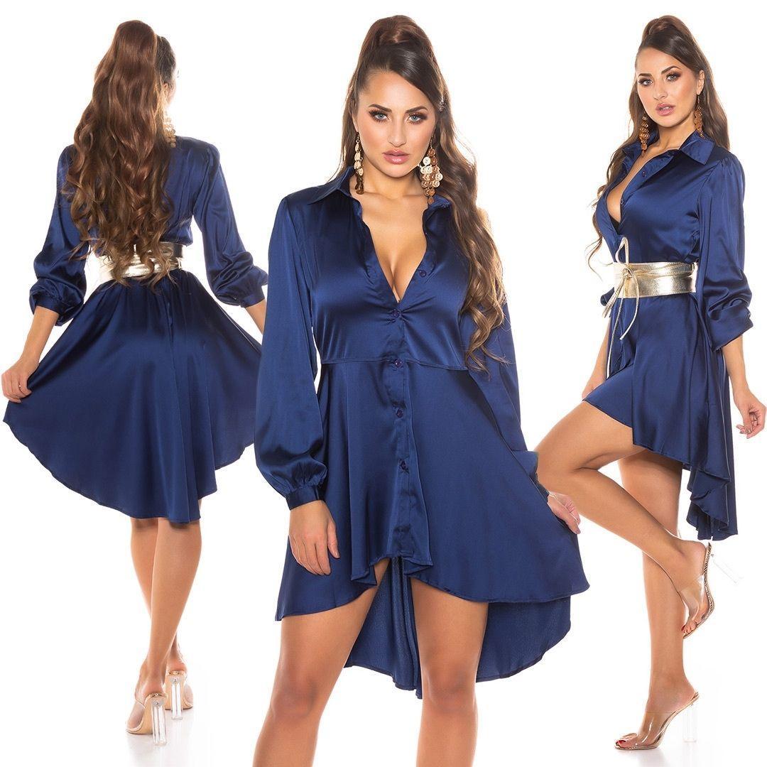 Vestido efecto seda azul
