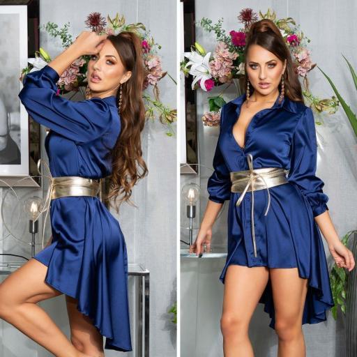 Vestido efecto seda azul [3]